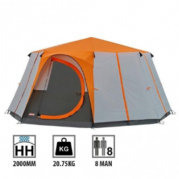 Coleman Cortes Octagon 8 Man Camping Tent Orange